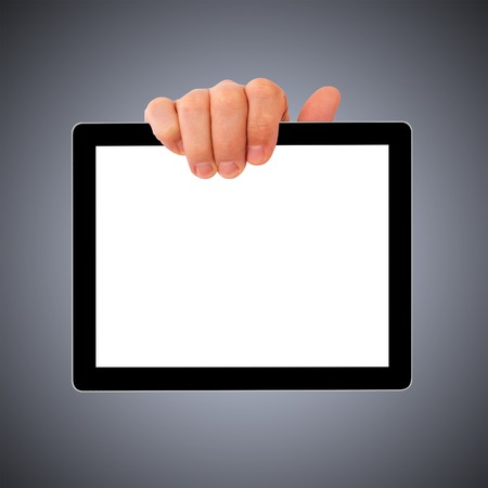 tablet pc in hand: digital tablet pc with businessman hand. Isolated on white.