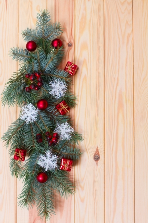 hristmas: Empty wooden surface with Сhristmas decor for product montage Stock Photo