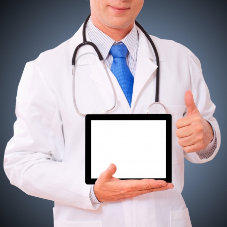 doctor working with tablet pc  closeup photo