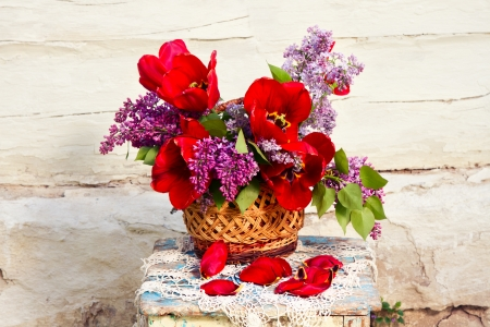 Beautiful bouquet of flowers in vintage style. Still life. Greeting card. photo