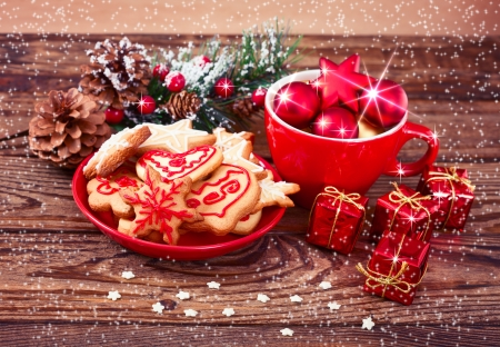 Gingerbread cookies on wooden . Christmas card. Stock Photo - 24058510