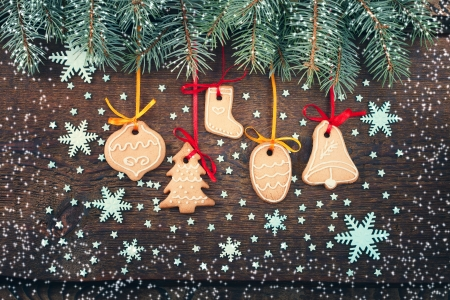 Christmas cookies with festive decoration.  Christmas card. Free space for your text photo