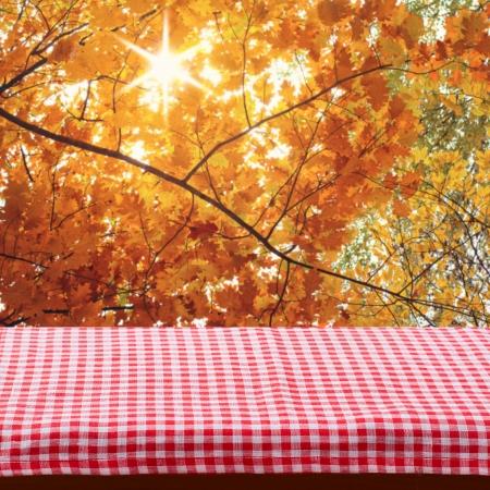 masalar: Ürün montaj için masa örtüsü ile boş ahşap güverte tablo. Sonbahar manzara. Metin için boş alan Stok Fotoğraf