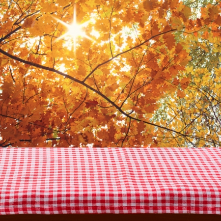 Empty wooden deck table with tablecloth for product montage. Autumn landscape. Free space for your text