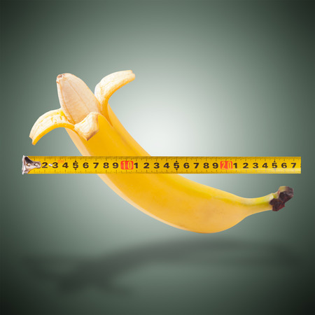 impotent: Large banana and measuring tape