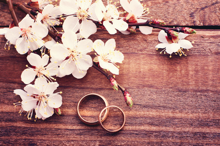 rose ring: Wedding rings. Flowering branch with white delicate flowers on wooden surface. Declaration of love two hearts couple space for text Stock Photo