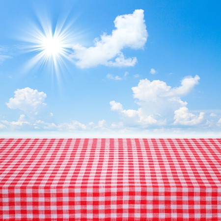 Canvas texture or background on the table. Red checked tablecloth view from top. Empty tablecloth for product montage. Stock fotó