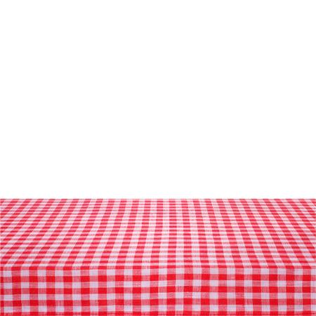 キャンバスのテクスチャやテーブルの上の背景。赤チェック テーブル クロス頂上からの眺め。製品のモンタージュのための空のテーブル クロス。