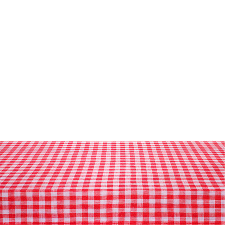 Canvas texture or background on the table. Red checked tablecloth view from top. Empty tablecloth for product montage. Stock Photo
