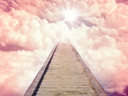 Blue sky with sun and beautiful clouds. Stairs in sky road to heaven. Purple toning