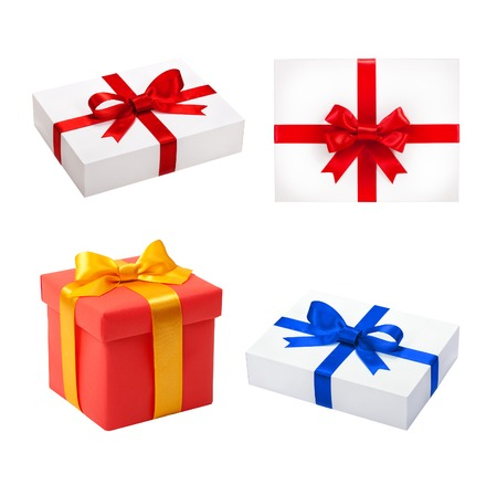 Set colorful box. Beautiful gift boxes isolated. Holiday presents photo
