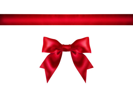 red ribbon bow: Red ribbon bow on white background. Studio shot. Free space for text