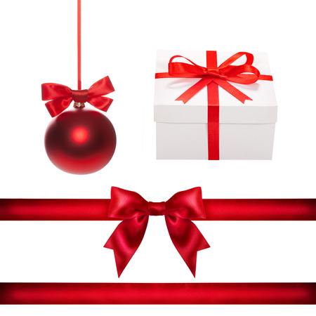 Set for design. Red Christmas ball, ribbon, bow, gift box isolated photo