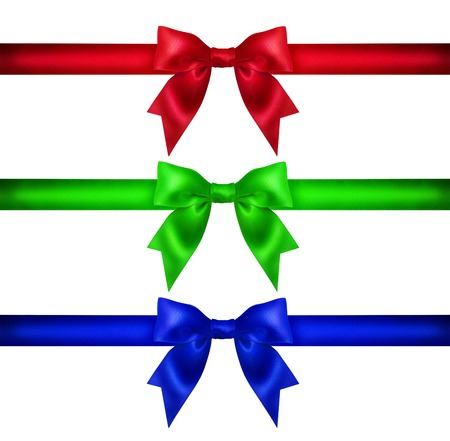 Set colorful ribbon bow on white background. Studio shot. Free space for text photo