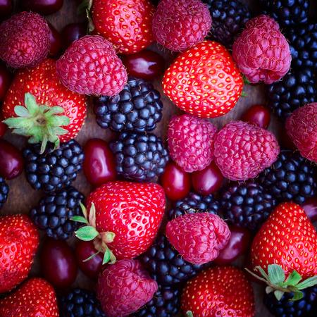 イチゴ、ハナミズキ、ブラックベリー、ラズベリーのトップ ビュー クローズ アップ 写真素材