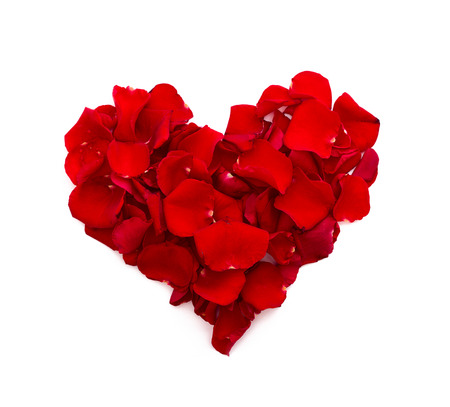 Rose petals in heart shape. Valentine greeting card, wedding. Top view of the square.