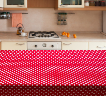 horizontally: Kitchen interior empty wooden table closeup. horizontally