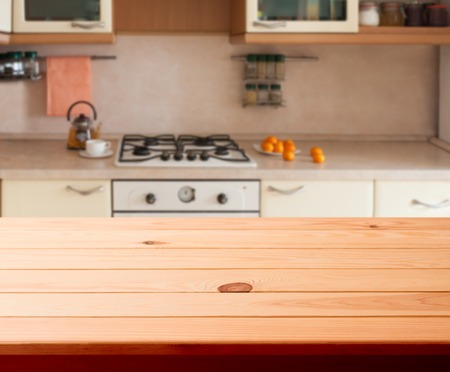 Kitchen interior empty wooden table closeup. horizontally
