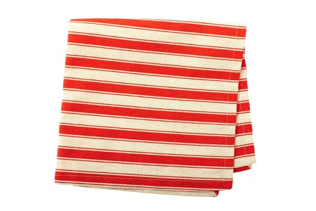 dishtowel: Tablecloth made of linen with red stripes for the dish on a white background isolated