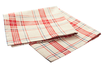 dishtowel: Linen tablecloth in red checkered for  dish on a white background isolated