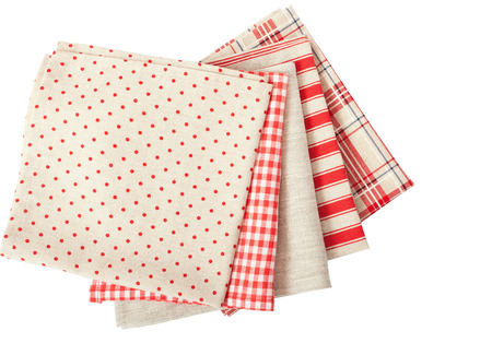 dishtowel: Stack of colorful dish towels isolated on white