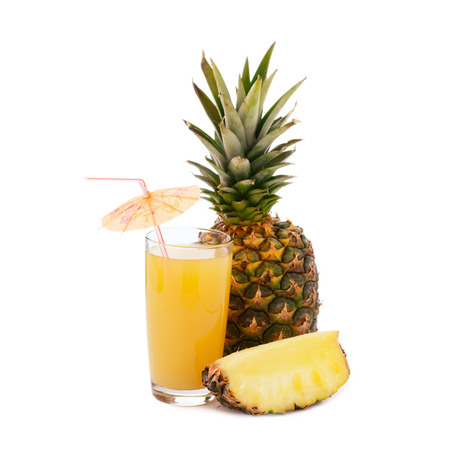 pineapple  glass: Tropical fruit pineapple, glass juice isolated on white background.