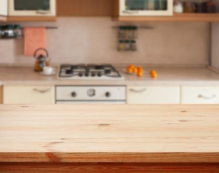 food on table: Kitchen interior tavolo di legno vuote primo piano. orizzontalmente
