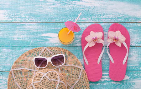 beachwear: Summer Holidays in Beach Seashore. Beachwear on wooden background. Vacation at sea
