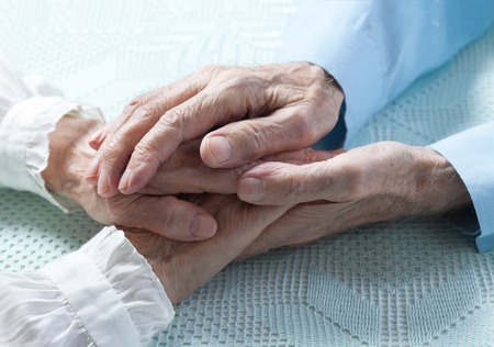 male senior adult: Old people couple holding hands closeup. Happy  family