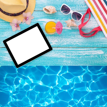 sand glass: Blank empty tablet computer on beach. Trendy summer accessories on wooden background pool. Sunglasses, orange juice and flip-flops on beach. Tropical flower orchid. Flat mock up for design.