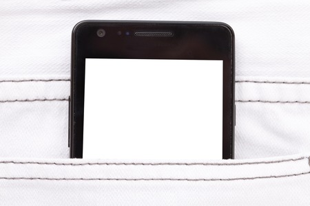 microblogging: Modern phone in jeans pocket displaying white screen application.