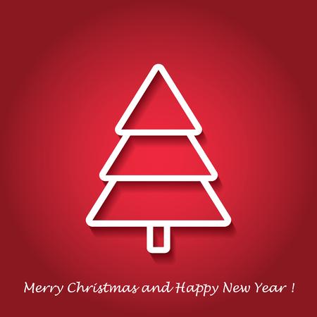 joyeux noel: Vector abstract background arbre de Noël moderne. Conception linéaire. Carte de voeux avec l'arbre de Noël