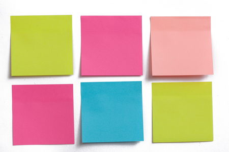 post office: collection of colorful post it paper note on white background