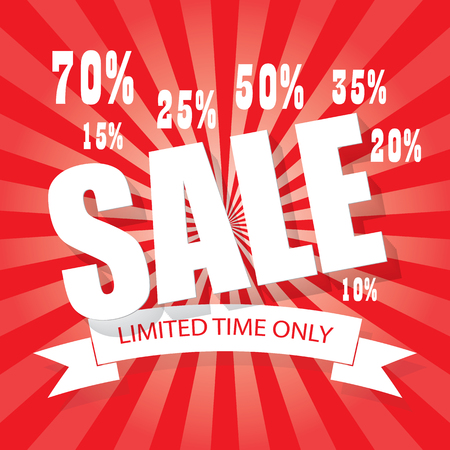 price cutting: SALE poster colorful background with letters, numbers and percentages