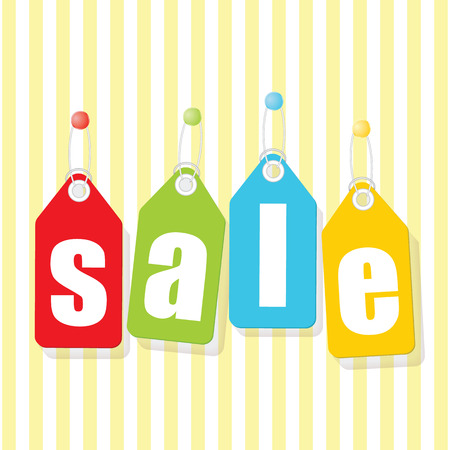 prix: Mobile prix SALE poster labels with white letters on colorful background