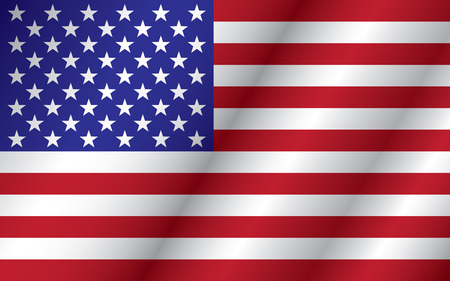 american states: Illustration of waving flag of United States of America. Illustration