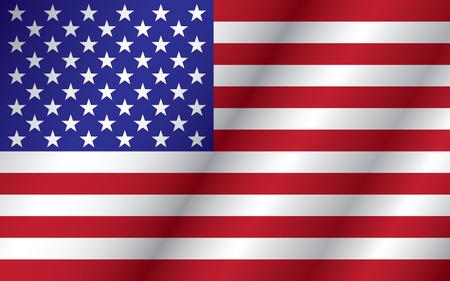 bandera estados unidos: Ilustración de ondeando la bandera de los Estados Unidos de América.