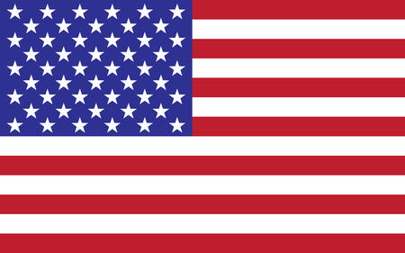 Vector image of american flag. Illustration of waving flag of United States of America. Foto de archivo