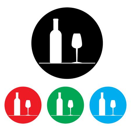 copa de vino: Conjunto de iconos para el vino, bodegas, restaurantes y tiendas de vino. estilo retro Vectores