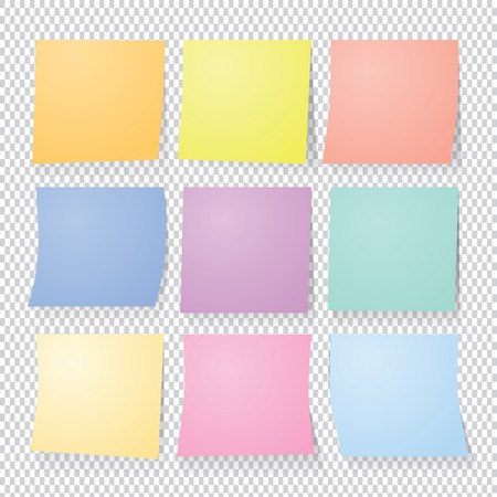 collection of colorful post it paper note. Vector set.