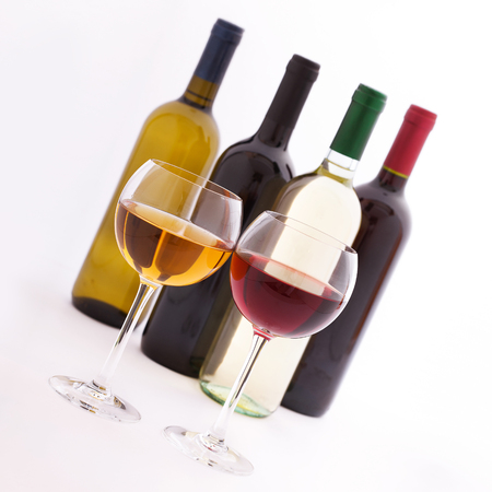 unusually: Glasses and bottles of wine. Flat mock up for design unusually on white background.