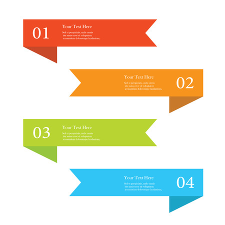 Set of colorful ribbon number options banners Illustration