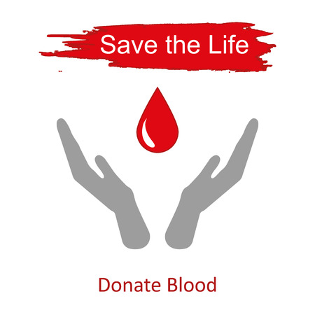 salvavidas: Mundial de donantes de sangre d�a 14 de junio. Manos levantadas y gota de sangre como s�mbolo de la ilustraci�n vectorial para salvar vidas Vectores