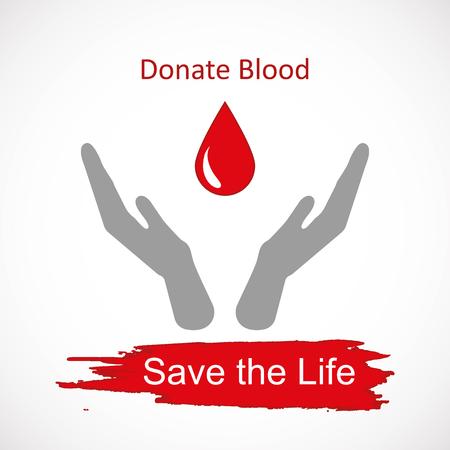 salvavidas: Mundial de donantes de sangre día 14 de junio. Manos levantadas y gota de sangre como símbolo de la ilustración vectorial para salvar vidas Vectores