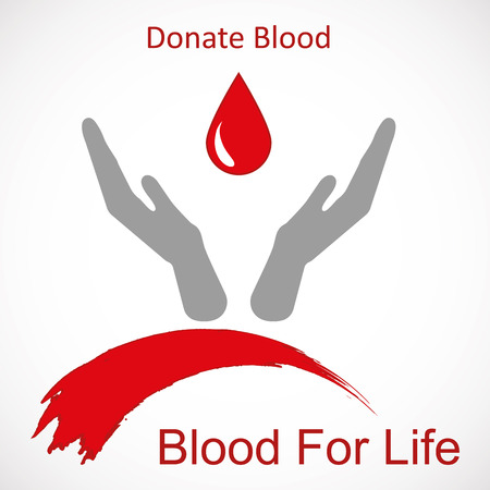 lifesaving: World blood donor day-June 14th. Hands raised up and drop of blood as symbol of life-saving vector illustration Illustration