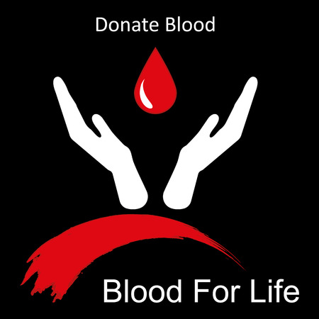 14th: World blood donor day-June 14th. Hands raised up and drop of blood as symbol of life-saving vector illustration Illustration