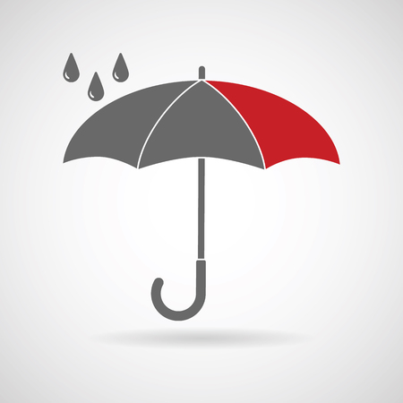 beach closed: Vector umbrella . Umbrella icon, umbrella and rain symbol, umbrella silhouette shape, umbrellas weather icon, umbrella interface element