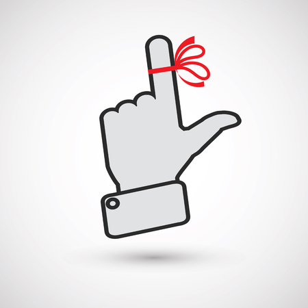 finger bow: Hand with red ribbon on your finger, concepts sclerosis. Reminder icon. Mans hand holds finger with red bow Illustration