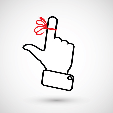 amnesia: Hand with red ribbon on your finger, concepts sclerosis. Reminder icon. Mans hand holds finger with red bow Illustration