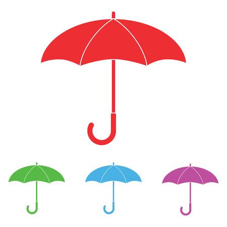 umbrella: Set colorful umbrella icon, umbrella and rain symbol, umbrella silhouette shape, umbrellas weather icon, umbrella interface element